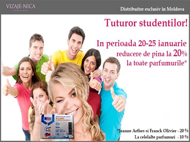 """Reducere de pînă la 20% la toate parfumurile de la """"Vizaje-Nica"""" pentru studenți!"""